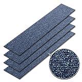 Teppichfliesen PINE | selbstliegend ohne Kleben | schadstoffgeprüft, GUT-Siegel | Bitumen Rücken | 100x25 cm | Denim Blau | 4er Set (1qm)