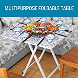 Tied Ribbons Multipurpose Foldable Coffee Table for Living Room Patio Garden Indoor Outdoor Camping Picnic Party(Wood and Metal,58cm x 58cm x 50cm)