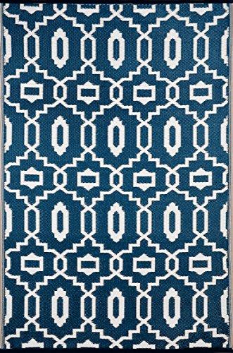 Green Decore Tapis léger Intérieur/extérieur réversible Plastique Tapis Moderne Bleu foncé \ Blanc – 1,2 x 1,8 m (120 x 180 cm), Majolique Bleu/Blanc