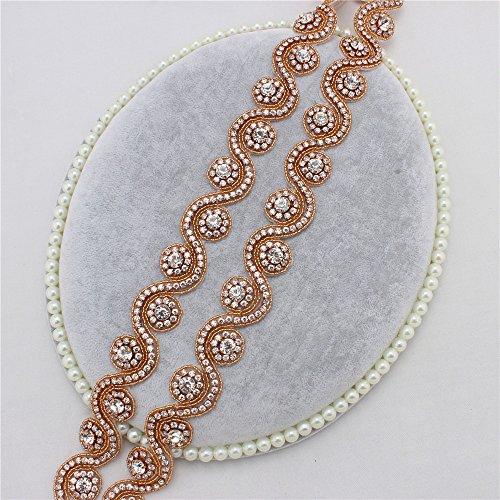 Braut Strass Applique mit Kristallen in Rose Gold Base für Hochzeit Gürtel Stirnbänder Kopfschmuck (Rose Gold Clear)
