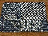 Indigo mano Block stampa Kantha trapunta, dimensione doppia Patchwork, Copriletto in cotone, realizzato da Tribal Asian Textiles