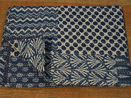 Indigo Farbe Hand Block gedruckt Kantha Steppdecke, Twin Size Patchwork Baumwolle Tagesdecke, hergestellt von Tribal asiatischen Textilien -