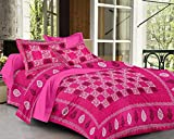 #5: Globtail Traditional Jaipuri Floral Printed 144 TC Cotton Double Bedsheet with 2 Pillow Covers - Pink