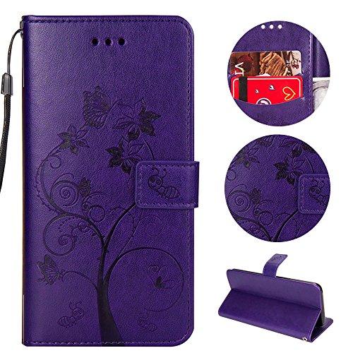 Sycode Hülle für iPhone 8,Case für iPhone 7,Schutzhülle für iPhone 8,Schmetterling Baum Blume Ameise Lederhülle Hülle für iPhone 8/7 (4.7 Zoll)-Lila