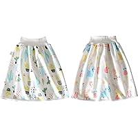 2 pièces Short à jupe à couches pour enfants Comfy Lavable Coton fibre de bambou TPU imperméable absorbant lit vêtements…