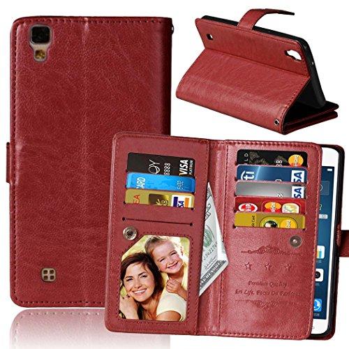 Flip LG X Power Case Folio Case Solid Farbe Premium Synthetik-Leder-Kasten-Standplatz-Mappen-Kasten-Kasten mit 9 Karten-Bargeld-Slots für LG X Power ( Color : Pink , Size : LG X POWER ) Brown