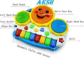 AKSH Drum Keyboard Musical Toys with Flashing Lights - Animal Sounds and Songs, Multi Color