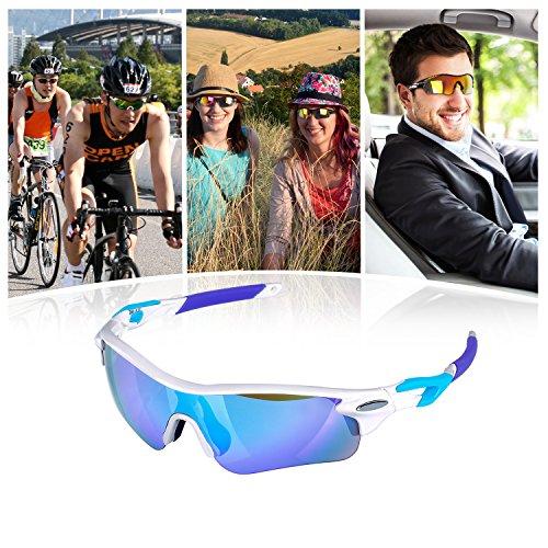 Navestar Radsportbrille Sport Sonnenbrille für Herren und Damen, Fahrradbrille mit 5 Austauschbare Lens UV400 Sportbrille für Radfahren, Fahren, Motorradfahren, Klettern, Angeln, Wandern Weiß-Blau - 7