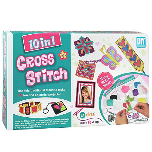 Ekta Plastic And Wool Cross Stitch Craft Kit Game Multicolour