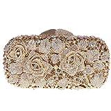 Bonjanvye Glitter Floral Clutch Purse for Girls Crystal Rhinestone Handbag AB Gold