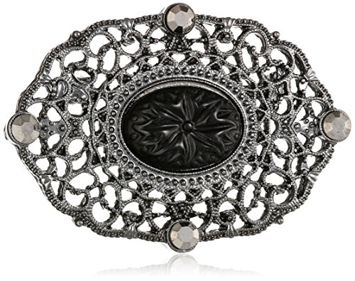 Downton Abbey Boxed Jet-Tone Oval Filigree Brooch