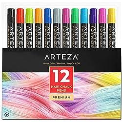 Tinte temporal de tiza para pelo - 12 colores de cabello lavables para niños, jóvenes y adultos