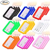 Key Tags, Identifiers Labels For Luggage Suitcases Bags, PVC Travel Baggage Tag Set 27 Pack