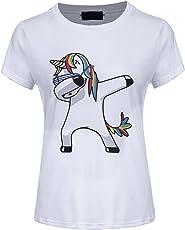 Fancyku Women's Casual Cool Unicorn T Shirt Crew Neck Tees
