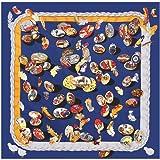 AHUIOPL 100% Silk Frauen Ostereier Print Seide Foulard Square Schals Luxus Lady Twill Wraps Weibliche Hijabs, Navy