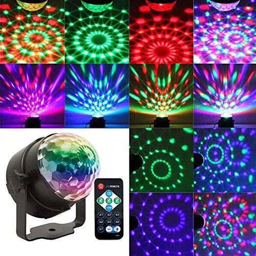 Wealsex 7 RGB LED etapa lámpara con control remoto bola de discoteca Iluminación de iluminación Iluminación de escenario Iluminación Atmósfera DJ Disco Pubs Karaoke Decoración de bolas de cristal Party Party Aniversario de la boda Bar Bal KTV Club