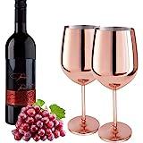 Lot de 2 - Verres à Vin Cuivre Acier Inoxydable Boissons en Métal Gobelets Tasses à Cocktail Verres à Vin Or Rose 17oz