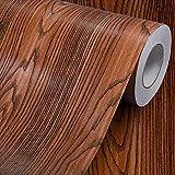 Grano de madera papel de contacto estante maletero de vinilo autoadhesivo cubierta para encimera de cocina gabinetes cajón muebles para pared (23.4'wx117 L, palisandro)