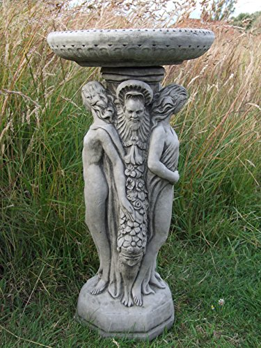 Three Graces Bird Bath / Feeder Ornament Detailed Cast Stone Garden