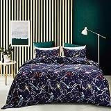 Decdeal Multicolor Comforter Duvet Cover Set Universe Stars Home Soft Bedding Set