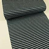 Bündchen Stoff Glitzer Streifen marine -Preis gilt für 0,5 Meter-