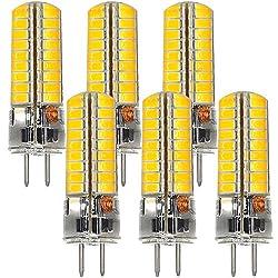 MENGS 6 Stück GY6.35 6W LED Lampe 72x5730 SMD Kaltweiß 6500K AC/DC 12V Mit Silikon Mantel