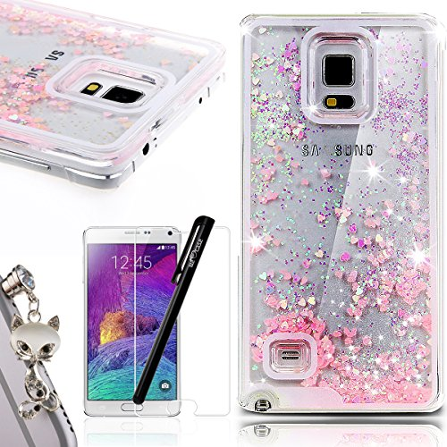 We Love Case Samsung Note 4 Hülle Treibsand Galaxy Note 4 Hülle Glitzern Flüssig Rosa Liebe Transparent Kristall klar Durchsichtig Schutzhülle Handyhülle Handytasche Handycover PC Harte Case Anti-Scratch Handy Tasche Schale Schlank Backcover Bumper Fall Ultra Dünn Anti-Kratz für Samsung Galaxy Note4 + Fuchs Fox Anti Staub Stöpsel + Eingabestift Stylus + Screen Schutzfolie Iphone 4 Gold Case