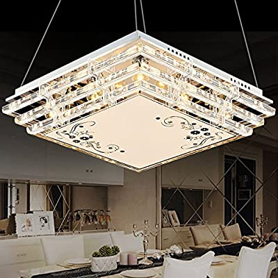 GQLB LED Crystal Chandelier Restaurant Ceiling Light 30W Bedroom Luminaire Dining Room Dining Table Cafeteria Square Slippers 450 * 450 * 150MM produced by Cceiling light - quick delivery from UK.
