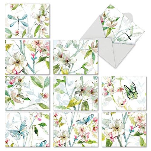 M6592OCB Dogwood Days: 10 sortierte Blanko-Notizkarten für alle Gelegenheiten, mit einem größeren Malerei von Aquarell-Dogwood-Blumen, die in kleinere Bilder geschnitten sind, mit weißen Umschlägen.