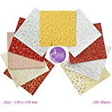 AsianHobbyCrafts Multicolor Gold Origami Paper : Pack Of 100 Sheets : Size 150 X 150 Mm : For Origami, Scrapbooking, Hobby Crafts, Project Work Etc.