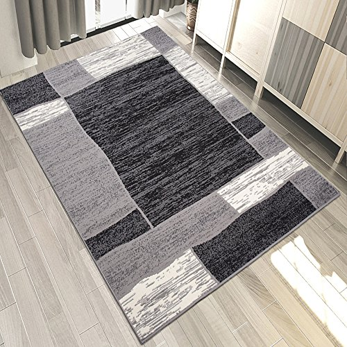Carpeto Teppich Modern Geometrische Muster Trend Meliert in Grau, Schwarz - ÖKO Tex (200 x 300 cm) -