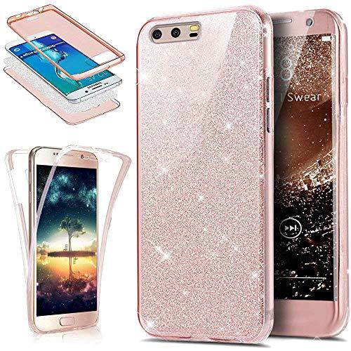 EINFFHO Huawei P10 Hülle, 360 Full-Body Vorne+Hinten Rundum Schutz Tasche Etui Kristall Klar Glänzend Glitzer Durchsichtig Silikon Hülle Schutzhülle für Huawei P10 (Rose Gold)
