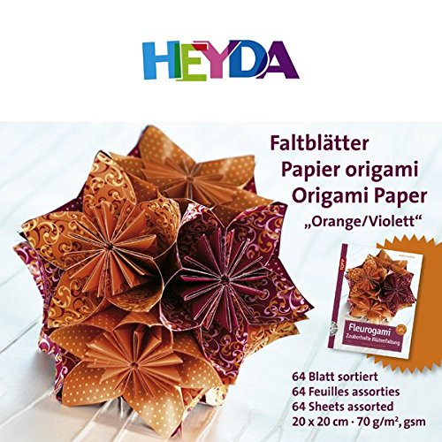Heyda 204875561 Faltblätter 20x20 cm orange violett 70 g qm Inhalt 64 Blatt