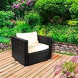 BRAST Rattan Lounge Sessel Sofasessel Schwarz für Gartenmöbel Möbel Sitzgarnitur Sitzgruppe Polyrattan