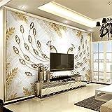 Mznm Custom 3D Wall Paper Wandbilder Wohnzimmer Schlafzimmer europäischen Blattgold Peacock Schmuck Wallpaper Home Decor 3D Bodenbeläge