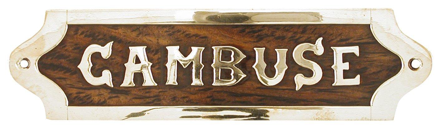 G�n�rique 840 Cambuse placca in legno con elementi in ottone, 19,5 x 5 x 1 cm