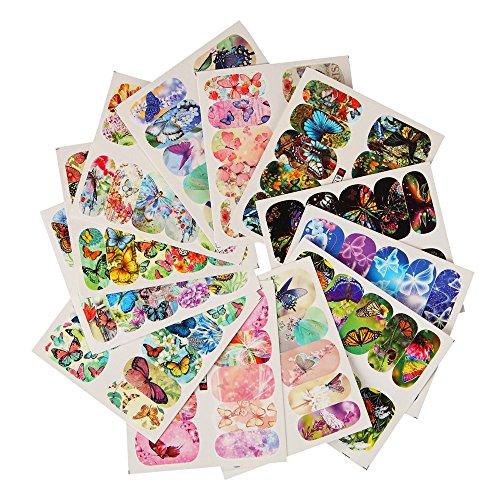 YUYOUG 12PCS Nail Art Sticker transfert d'eau de fleur Autocollants Stickers Conseils Décoration