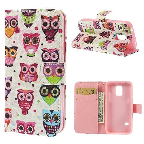 delightable24 Cover Protettiva Bookstyle Flip Case per SAMSUNG GALAXY S5 MINI Smartphone - Owls & Dots Edition