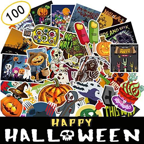 Kostüm Kühlschrank - Renendi Selbstklebende Aufkleber für Halloween, wasserdicht, für Auto, Kühlschrank, Gepäck, Dekoration, Party, Tapete, Zuhause, Bar, Dekoration, 100 Stück multi