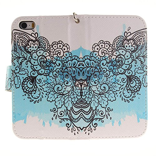 iPhone SE Coque Blanc - Rabat Style Apple iPhone 5S 5 Portefeuille Etui Prime PU Cuir Etui de protection Divers Original Motif Panda blanc-2