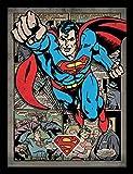 DC Comics Affiche encadrée Superman et BD pêle-mêle, 30cm x 40cm