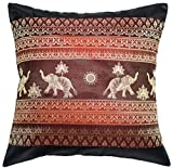 Avarada Print Elephant Sun Throw Pillow Cover Decorative Sofa Couch Cushion Cover Zippered 16x16 Inch (40x40 cm) Black Red by Avarada