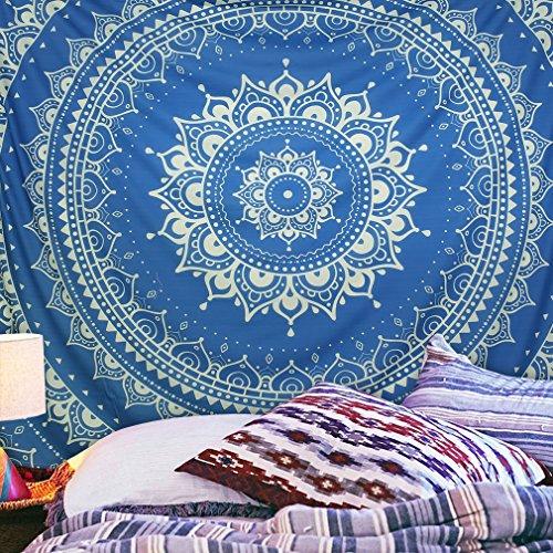 KINLO® Wandteppich 150x130cm TOP Tapestry Blau Tapisserie mandala aus hochwertigem Polster Strandtuch hippie überwurf Retro Kunst Vorhang Wand Pichnick Decke indisch Tagesdecke 2 Jahren Garantie