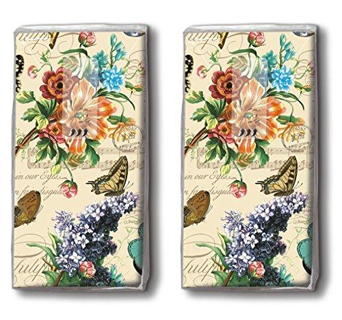 20 Taschentücher (2x 10) Vintage Summer- Sommerszene Vintage / Blumen / Schmetterlinge / Motivtaschentücher