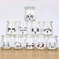 Lot de 10 Pots de Yaourt en Verre avec Couvercles Étanches Pot Yaourt Enfant avec Décor émoticône différents pour…