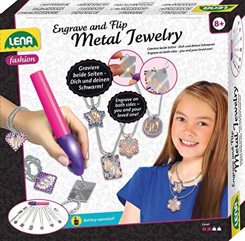 Lena 42655 Engraver\'s Jewelry Studio, Schmuckstudio, Gravurstudio für Kinder ab 9 Jahre, Set mit batteriebetriebenen Gravierer, Leim, 800 Strassjuwelen und 6 Metallanhänger mit Ketten, Silber