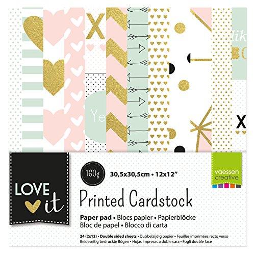 Vaessen Creative Love It Kollektion, Bastelpapier Foto-Karton 30.5 x 30.5 cm, 24 Blatt Doppelseitiges Papier