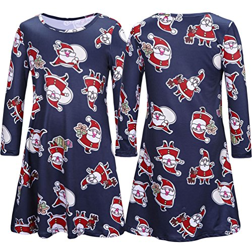 YiJee Ensemble Robe Pour Mère Et Fille Robe Du Père Noël Imprimer De Christmas Swing Pour Femmes Fille K025 Fille
