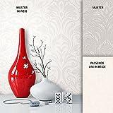 NEWROOM Barocktapete Tapete Weiß Ornament Barock Vliestapete Grau Vlies moderne Design Optik Barocktapete Wohnzimmer Glamour inkl. Tapezier Ratgeber