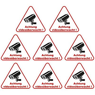 """wall-art-design® 8 Stück Aufkleber """"Achtung Videoüberwacht"""" 100x90 mm, selbstklebend, kratz und Wetterfest"""